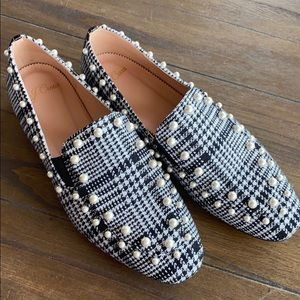 Jcrew plaid pearl studded loafers